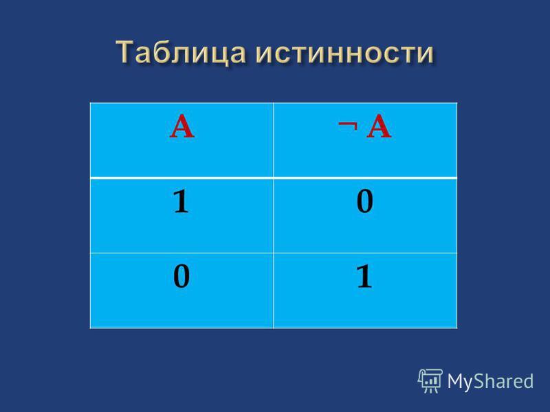 A¬ A 10 01