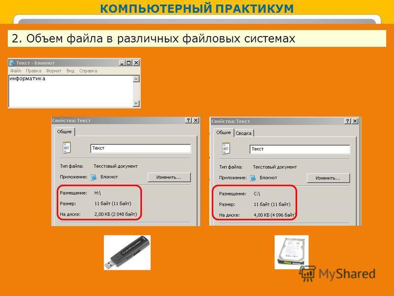 КОМПЬЮТЕРНЫЙ ПРАКТИКУМ 2. Объем файла в различных файловых системах