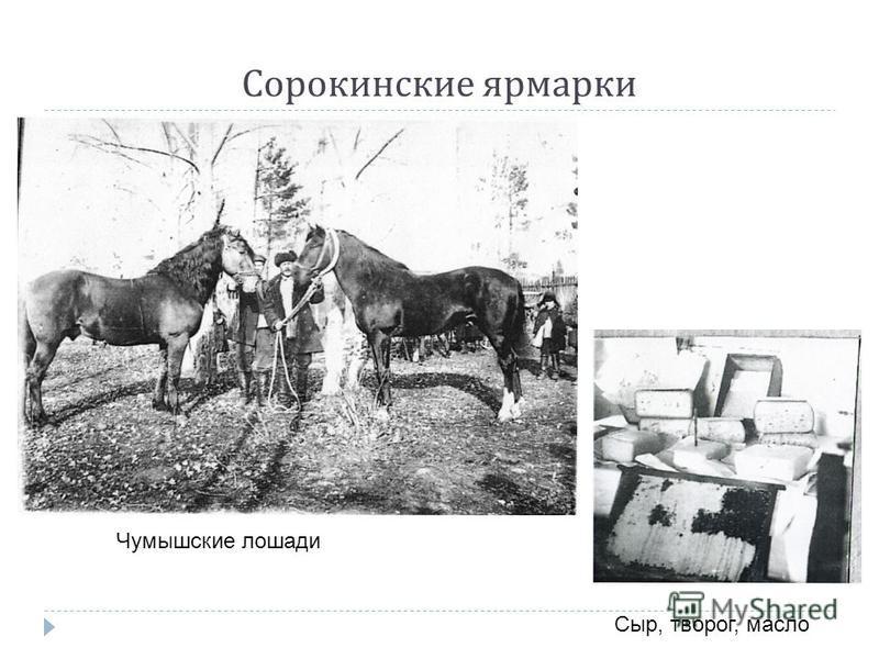 Сорокинские ярмарки Чумышские лошади Сыр, творог, масло