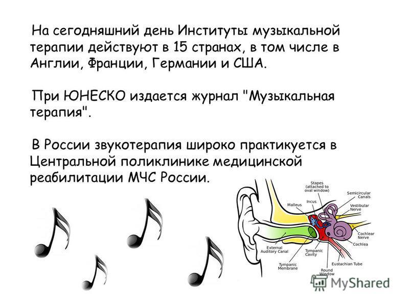На сегодняшний день Институты музыкальной терапии действуют в 15 странах, в том числе в Англии, Франции, Германии и США. При ЮНЕСКО издается журнал