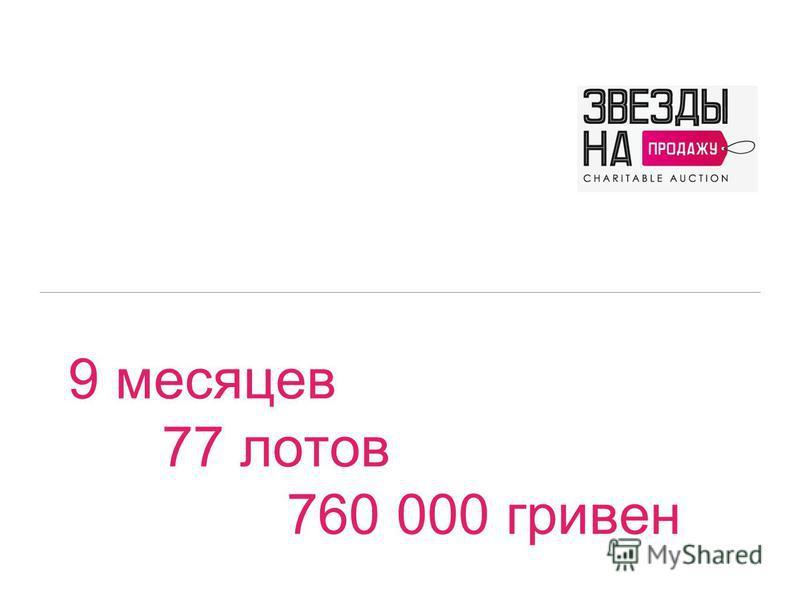 9 месяцев 77 лотов 760 000 гривен Благотворительный аукцион «Звезды на продажу»