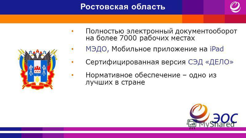 Ростовская область Полностью электронный документооборот на более 7000 рабочих местах МЭДО, Мобильное приложение на iPad Сертифицированная версия СЭД «ДЕЛО» Нормативное обеспечение – одно из лучших в стране