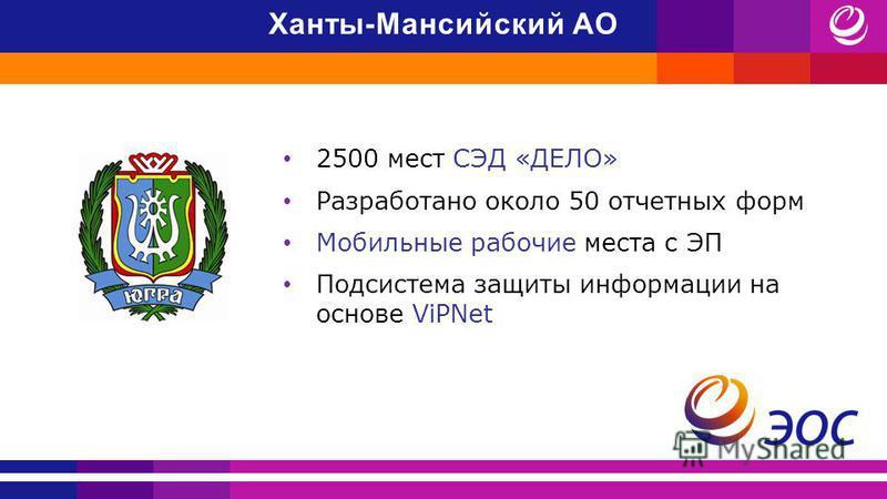 2500 мест СЭД «ДЕЛО» Разработано около 50 отчетных форм Мобильные рабочие места с ЭП Подсистема защиты информации на основе ViPNet Ханты-Мансийский АО