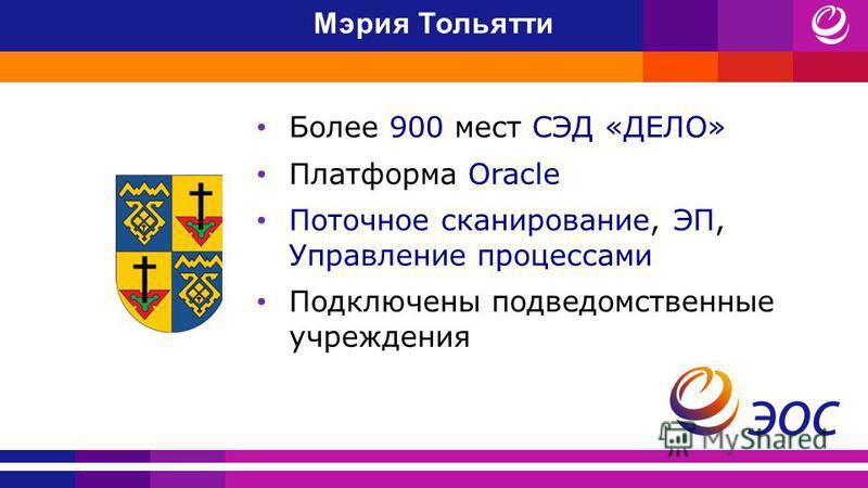 Мэрия Тольятти Более 900 мест СЭД «ДЕЛО» Платформа Oracle Поточное сканирование, ЭП, Управление процессами Подключены подведомственные учреждения