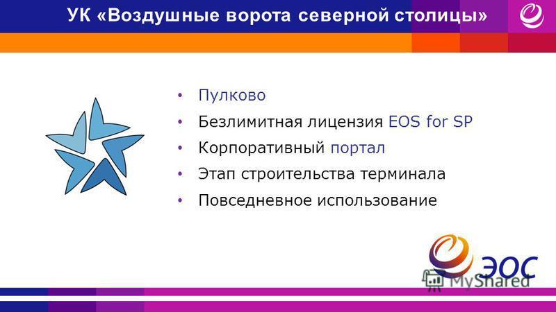 Пулково Безлимитная лицензия EOS for SP Корпоративный портал Этап строительства терминала Повседневное использование УК «Воздушные ворота северной столицы»