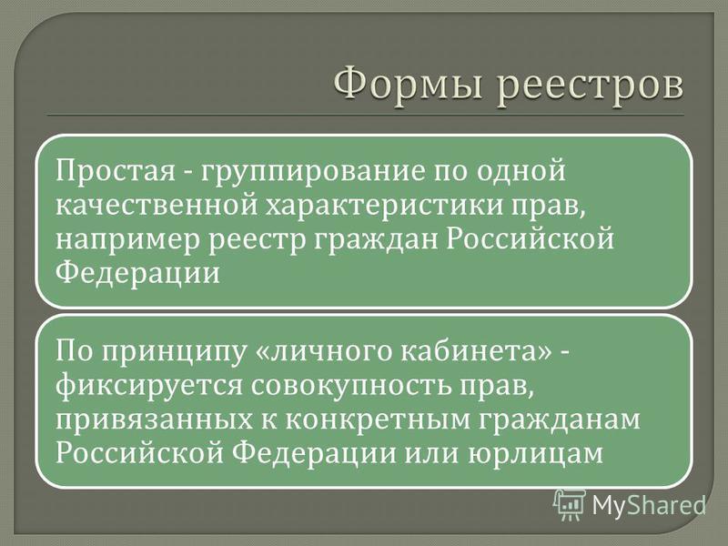 Простая - группирование по одной качественной характеристики прав, например реестр граждан Российской Федерации По принципу « личного кабинета » - фиксируется совокупность прав, привязанных к конкретным гражданам Российской Федерации или юрлицам