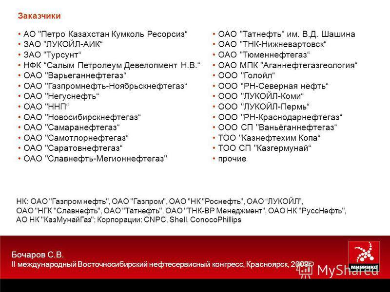 Бочаров С.В. II международный Восточносибирский нефтесервисный конгресс, Красноярск, 2009 г. АО