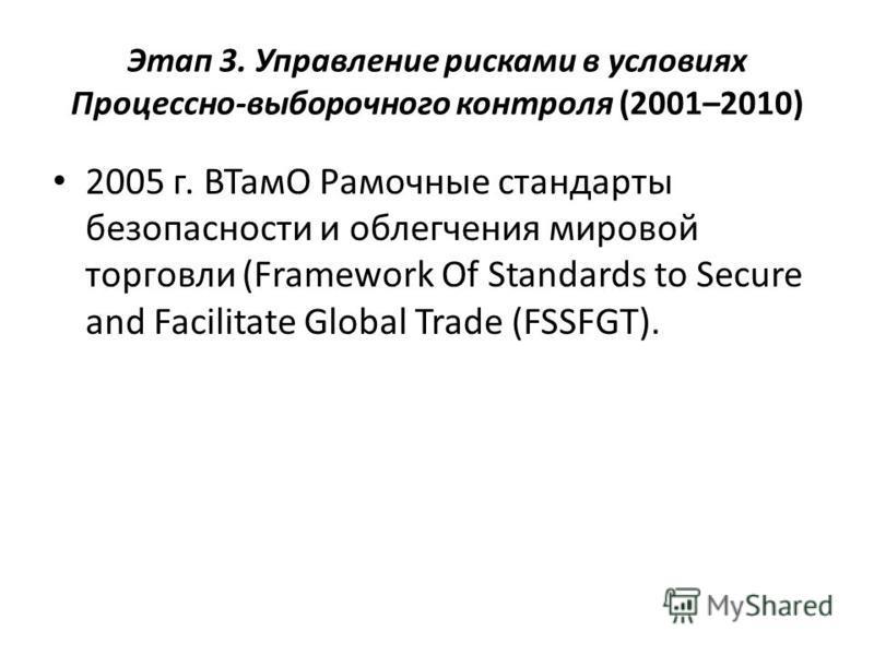 Этап 3. Управление рисками в условиях Процессно-выборочного контроля (2001–2010) 2005 г. ВТамО Рамочные стандарты безопасности и облегчения мировой торговли (Framework Of Standards to Secure and Facilitate Global Trade (FSSFGT).