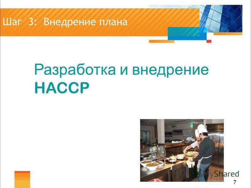 7 7 Шаг 3: Внедрение плана Разработка и внедрение HACCP