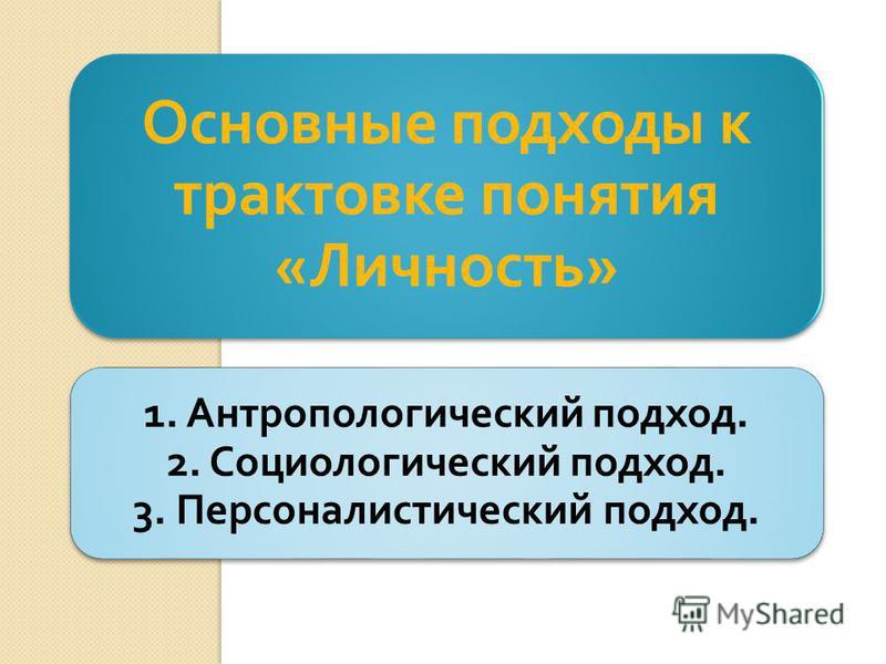 1. Антропологический подход. 2. Социологический подход. 3. Персоналистический подход. Основные подходы к трактовке понятия « Личность »