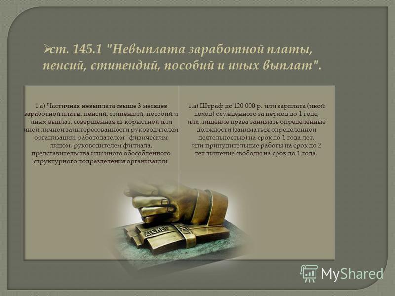 ст. 145.1 Невыплата заработной платы, пенсий, стипендий, пособий и иных выплат.