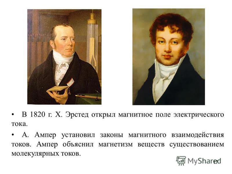 В 1820 г. Х. Эрстед открыл магнитное поле электрического тока. А. Ампер установил законы магнитного взаимодействия токов. Ампер объяснил магнетизм веществ существованием молекулярных токов. 17