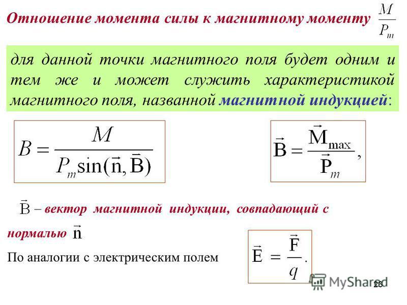 для данной точки магнитного поля будет одним и тем же и может служить характеристикой магнитного поля, названной магнитной индукцией: – вектор магнитной индукции, совпадающий с нормалью По аналогии с электрическим полем Отношение момента силы к магни