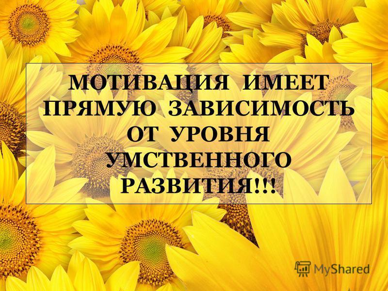 МОТИВАЦИЯ ИМЕЕТ ПРЯМУЮ ЗАВИСИМОСТЬ ОТ УРОВНЯ УМСТВЕННОГО РАЗВИТИЯ!!!