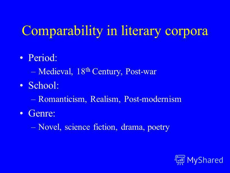 Comparability in literary corpora Period: –Medieval, 18 th Century, Post-war School: –Romanticism, Realism, Post-modernism Genre: –Novel, science fiction, drama, poetry
