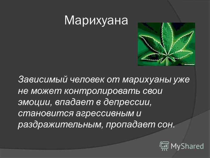 Марихуана Зависимый человек от марихуаны уже не может контролировать свои эмоции, впадает в депрессии, становится агрессивным и раздражительным, пропадает сон.