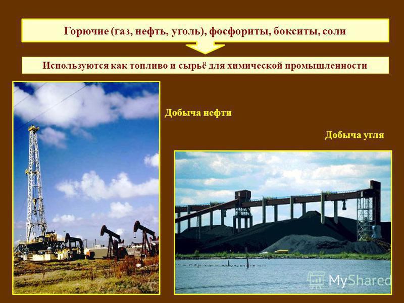 Горючие (газ, нефть, уголь), фосфориты, бокситы, соли Используются как топливо и сырьё для химической промышленности Добыча нефти Добыча угля