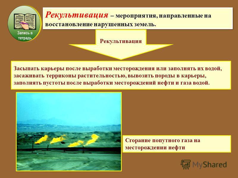 Рекультивация – мероприятия, направленные на восстановление нарушенных земель. Рекультивация Засыпать карьеры после выработки месторождения или заполнять их водой, засаживать терриконы растительностью, вывозить породы в карьеры, заполнять пустоты пос