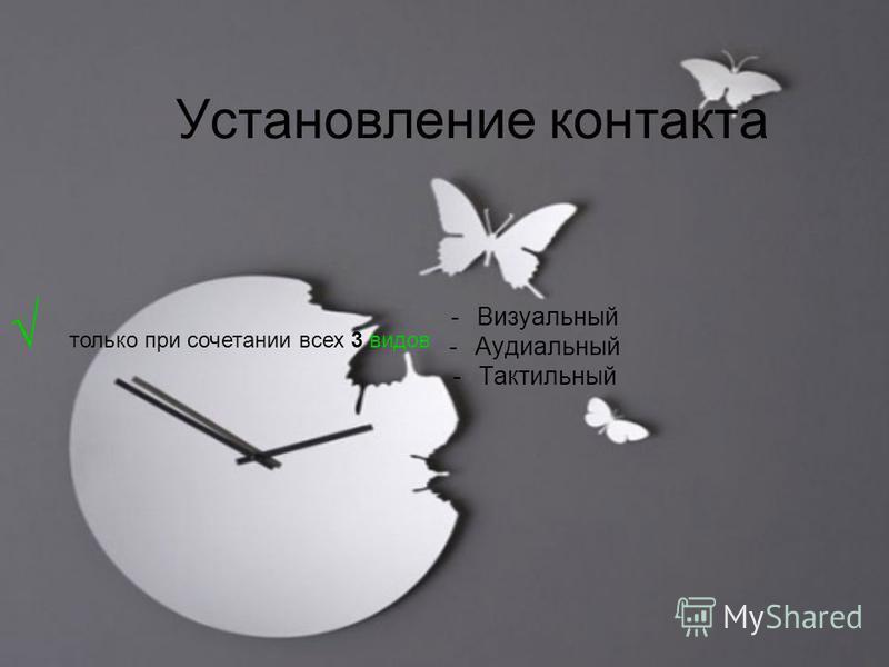 Установление контакта -Визуальный -Аудиальный -Тактильный только при сочетании всех 3 видов