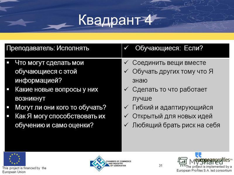 This project is financed by the European Union 31 The project is implemented by a European Profiles S.A. led consortium Квадрант 4 Practice Преподаватель: Исполнять Обучающиеся: Если? Что могут сделать мои обучающиеся с этой информацией? Какие новые