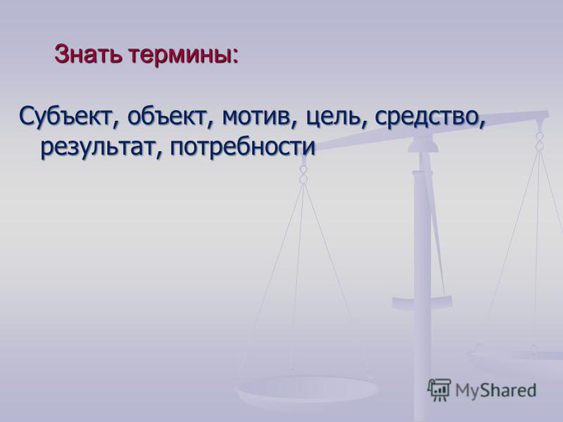 Субъект, объект, мотив, цель, средство, результат, потребности Знать термины: