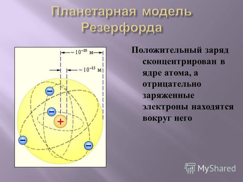 Положительный заряд сконцентрирован в ядре атома, а отрицательно заряженные электроны находятся вокруг него