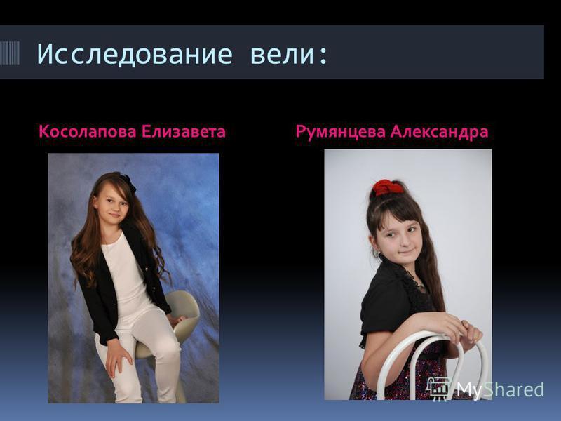 Исследование вели: Косолапова Елизавета Румянцева Александра