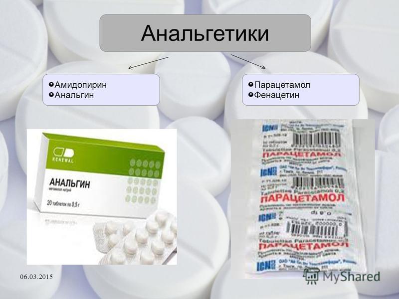 Анальгетики Амидопирин Анальгин Парацетамол Фенацетин 06.03.2015