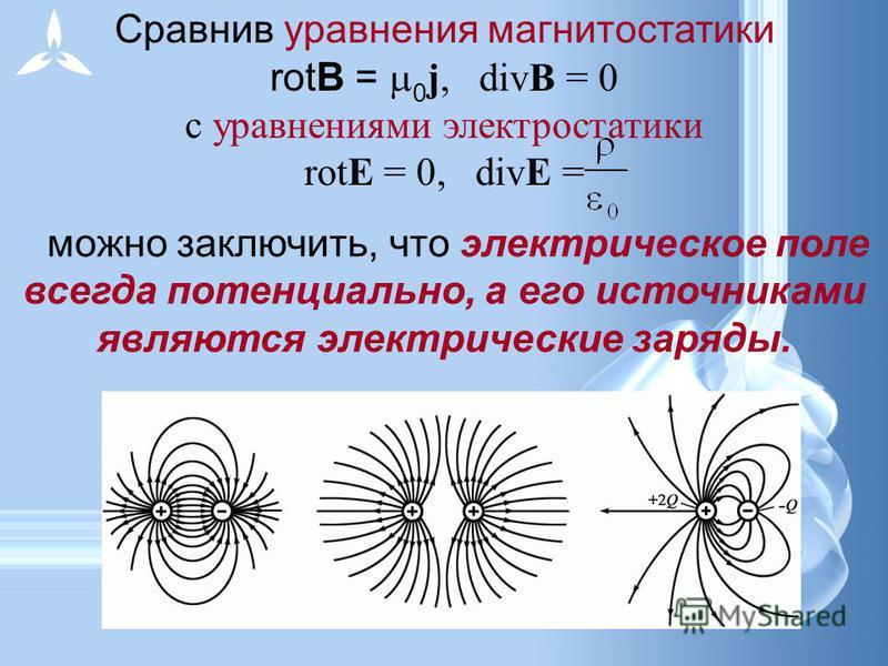 Сравнив уравнения магнитостатики rotВ = 0 j, divВ = 0 с уравнениями электростатики rotЕ = 0, divЕ = можно заключить, что электрическое поле всегда потенциально, а его источниками являются электрические заряды.