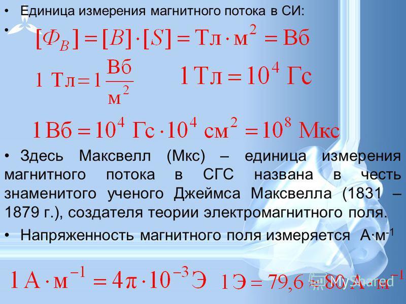Единица измерения магнитного потока в СИ: Здесь Максвелл (Мкс) – единица измерения магнитного потока в СГС названа в честь знаменитого ученого Джеймса Максвелла (1831 – 1879 г.), создателя теории электромагнитного поля. Напряженность магнитного поля