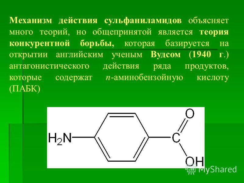 Механизм действия сульфаниламидов объясняет много теорий, но общепринятой является теория конкурентной борьбы, которая базируется на открытии английским ученым Вудсом (1940 г.) антагонистического действия ряда продуктов, которые содержат п-аминобензо