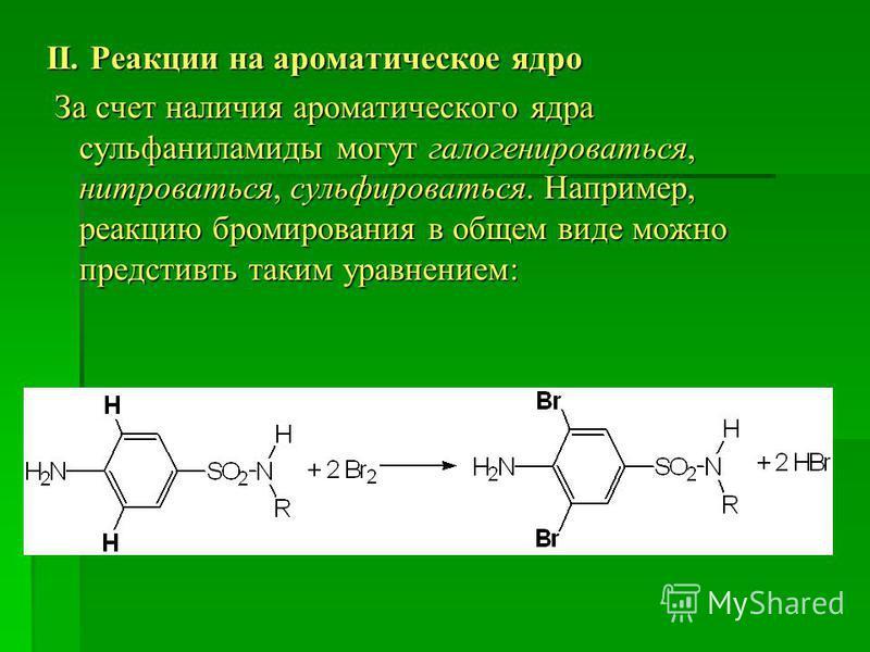 ІІ. Реакции на ароматическое ядро За счет наличия ароматического ядра сульфаниламиды могут галогенироваться, нитроваться, сульфироваться. Например, реакцию бромирования в общем виде можно предстивть таким уравнением: За счет наличия ароматического яд