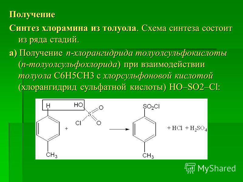 Получение Синтез хлорамина из толуола. Схема синтеза состоит из ряда стадий. а) Получение п-хлорангидрида толуолсульфокислоты (п-толуолсульфохлорида) при взаимодействии толуола С6Н5СН3 с хлорсульфоновой кислотой (хлорангидрид сульфатной кислоты) HO–S