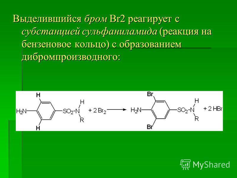 Выделившийся бром Br2 реагирует с субстанцией сульфаниламида (реакция на бензиновое кольцо) с образованием дибромпроизводного: