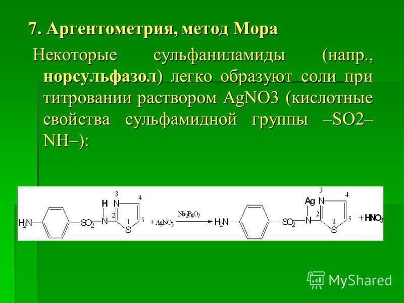 7. Аргентометрия, метод Мора Некоторые сульфаниламиды (напр., норсульфазол) легко образуют соли при титровании раствором AgNO3 (кислотные свойства сульфамидной группы –SO2– NH–): Некоторые сульфаниламиды (напр., норсульфазол) легко образуют соли при