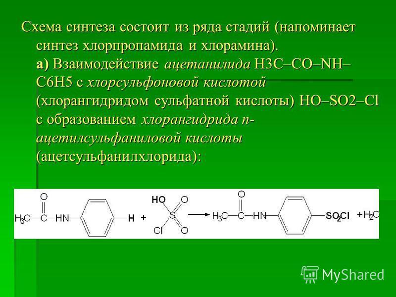 Схема синтеза состоит из ряда стадий (напоминает синтез хлорпропамида и хлорамина). а) Взаимодействие ацетанилида Н3С–СО–NH– С6Н5 с хлорсульфоновой кислотой (хлорангидридом сульфатной кислоты) HO–SO2–Cl с образованием хлорангидрида п- ацетилсульфанил