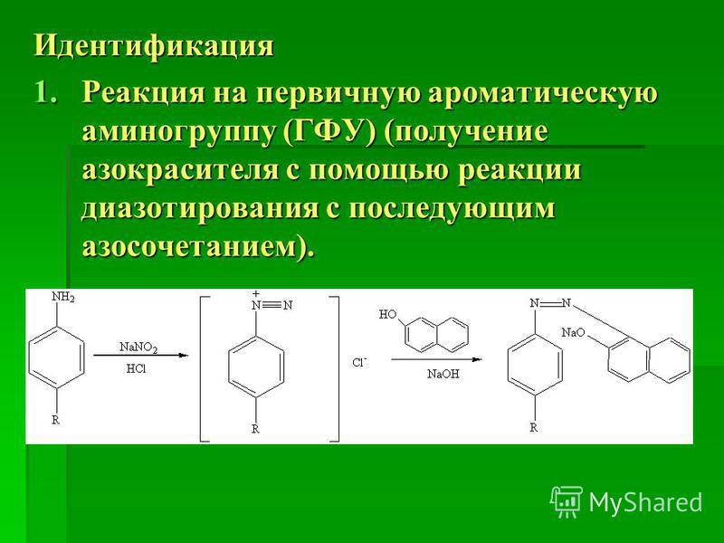 Идентификация 1. Реакция на первичную ароматическую аминогруппу (ГФУ) (получение азокрасителя с помощью реакции диазотирования с последующим азосочетанием).