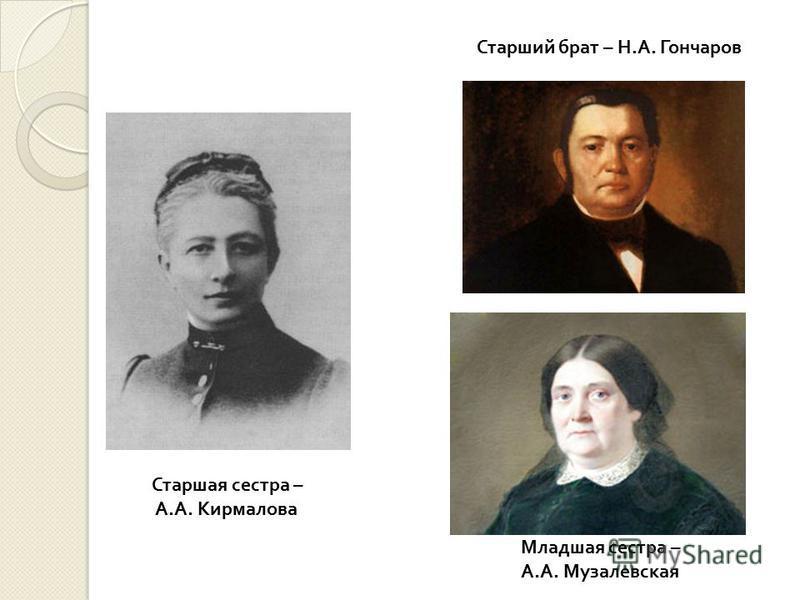 Старшая сестра – А. А. Кирмалова Младшая сестра – А. А. Музалевская Старший брат – Н. А. Гончаров