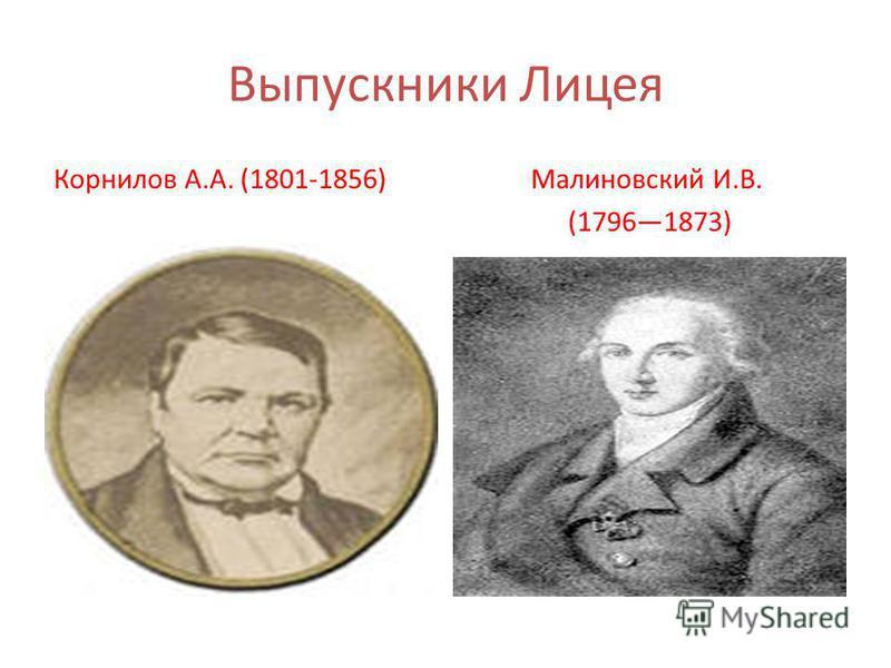Выпускники Лицея Корнилов А.А. (1801-1856)Малиновский И.В. (17961873)
