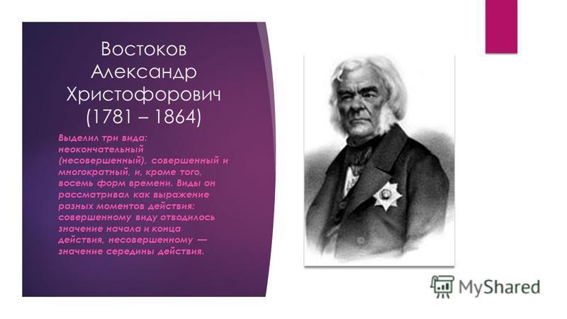 Востоков Александр Христофорович (1781 – 1864) Выделил три вида: неокончательный (несовершенный), совершенный и многократный, и, кроме того, восемь форм времени. Виды он рассматривал как выражение разных моментов действия: совершенному виду отводилос