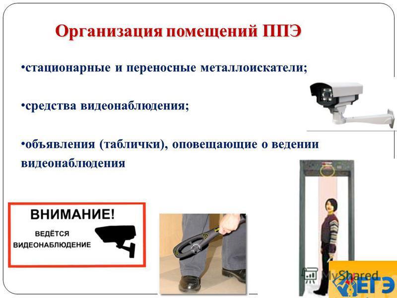 Организация помещений ППЭ 40 стационарные и переносные металлоискатели; средства видеонаблюдения; объявления (таблички), оповещающие о ведении видеонаблюдения