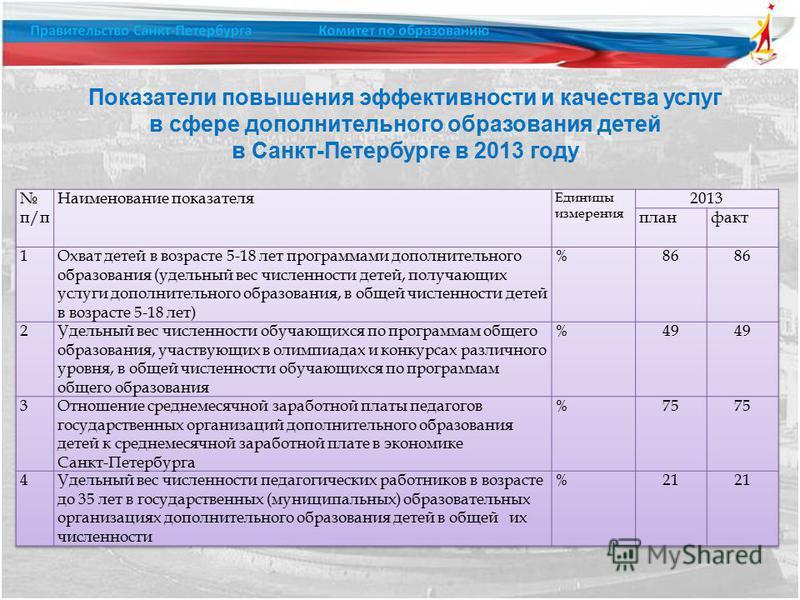 Показатели повышения эффективности и качества услуг в сфере дополнительного образования детей в Санкт-Петербурге в 2013 году