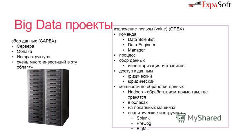 Big Data проекты сбор данных (CAPEX) Сервера Облака Инфраструктура очень много инвестиций в эту область извлечение пользы (value) (OPEX) команда Data Scientist Data Engineer Manager процесс сбор данных инвентаризация источников доступ к данным физиче