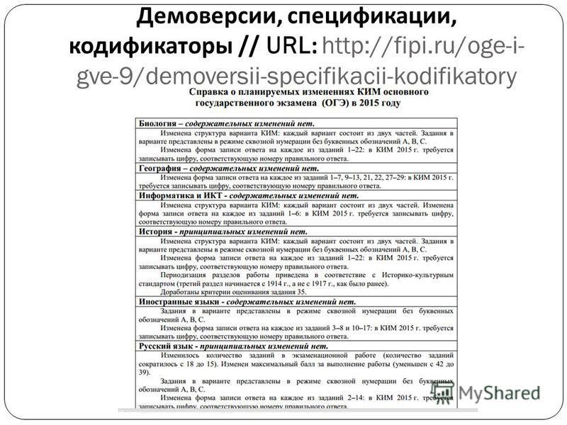 Демоверсии, спецификации, кодификаторы // URL: http://fipi.ru/oge-i- gve-9/demoversii-specifikacii-kodifikatory