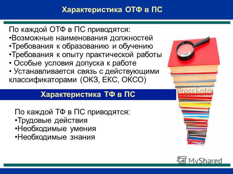 Характеристика ОТФ в ПС По каждой ОТФ в ПС приводятся: Возможные наименования должностей Требования к образованию и обучению Требования к опыту практической работы Особые условия допуска к работе Устанавливается связь с действующими классификаторами