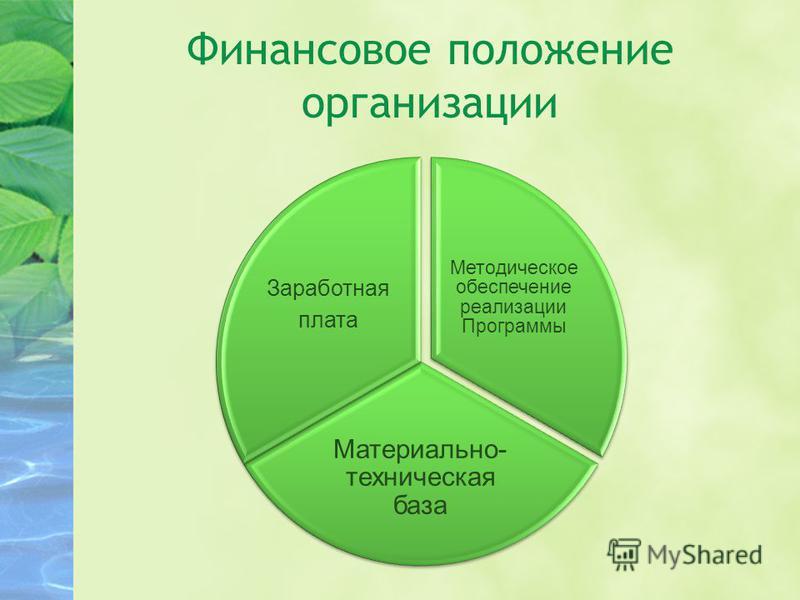 Методическое обеспечение реализации Программы Материально- техническая база Заработная плата Финансовое положение организации