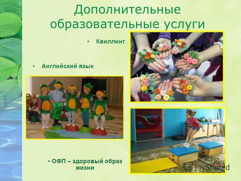 Дополнительные образовательные услуги Английский язык Квиллинг ОФП – здоровый образ жизни