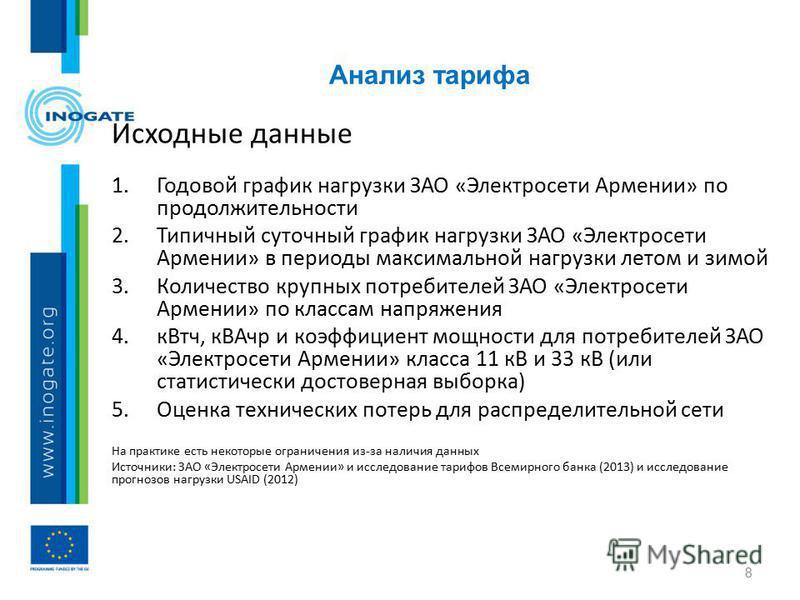 Анализ тарифа 8 Исходные данные 1. Годовой график нагрузки ЗАО «Электросети Армении» по продолжительности 2. Типичный суточный график нагрузки ЗАО «Электросети Армении» в периоды максимальной нагрузки летом и зимой 3. Количество крупных потребителей