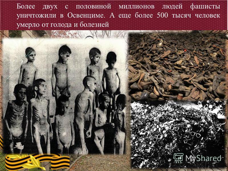 Более двух с половиной миллионов людей фашисты уничтожили в Освенциме. А еще более 500 тысяч человек умерло от голода и болезней