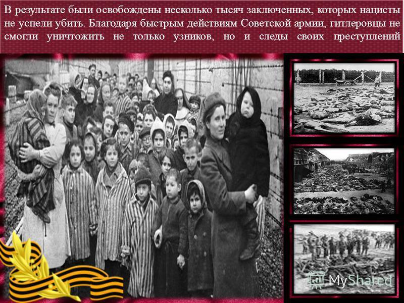 В результате были освобождены несколько тысяч заключенных, которых нацисты не успели убить. Благодаря быстрым действиям Советской армии, гитлеровцы не смогли уничтожить не только узников, но и следы своих преступлений